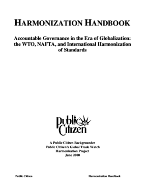 Harmonization Handbook: Accountable Governance in the Era of Globalization: The WTO, NAFTA, and International Harmonization of Standards