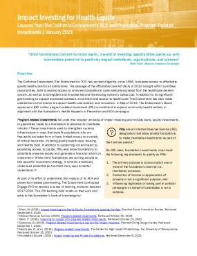 Impact Investing for Health Equity: Lessons from The California Endowment's ACA and Prevention Program Related Investments
