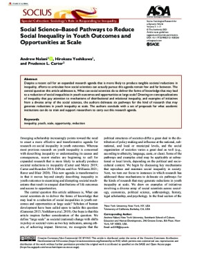Social Science–Based Pathways to Reduce Social Inequality in Youth Outcomes and Opportunities at Scale