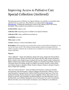 Improving Access to Palliative Care Special Collection (Archived)